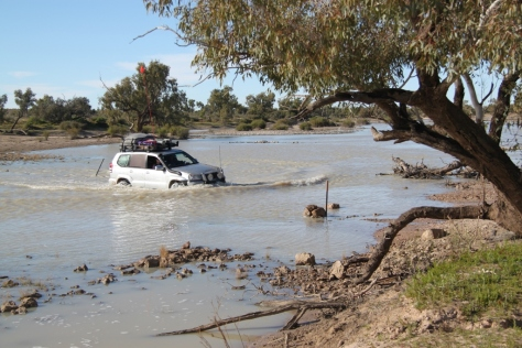 Crossing Eyre creek in the trusty 120 Prado