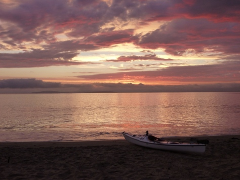 Sunrise at Roches Beach. I managed to paddle 10km and cook breakfast before the family woke up.
