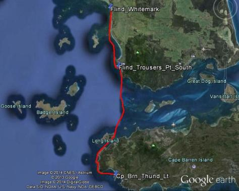 Day 8 - Whitemark (Flinders Island) to Thunder and Lightning Bay (Cape Barren Island) - 42km