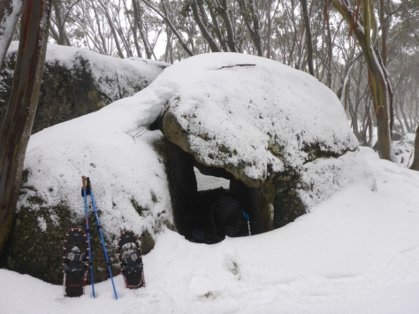 As the snow turned to rain in the morning I decided to cook up breakfast in this spot known as the Rock Shelter.