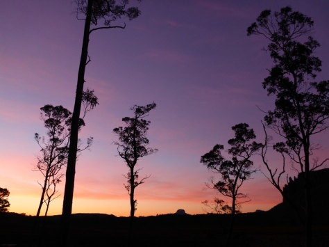 Sunset from New Pelion hut with the silhouette of Mount Oakleigh on the right.