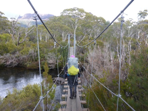 Crossing the Narcissus River on yet another suspension bridge