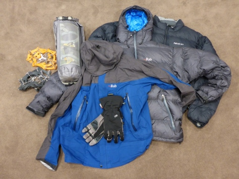 This is some of the stuff we carried but didn't use including tent, puffy jackets, hard shell and microspikes.