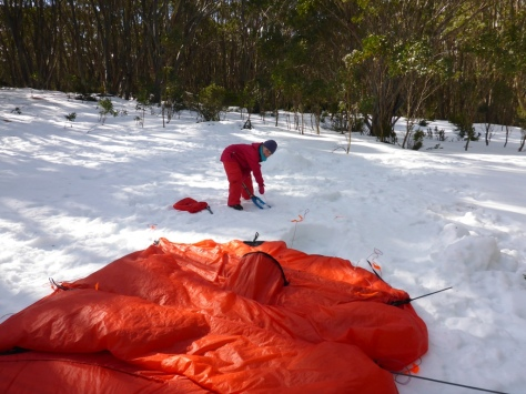 The Keron uses 18 pegs when fully pegged out. This can take a while to set up and also to dig out the pegs from snow when an icy crust has formed overnight.