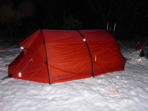 The tent comes with a few small patches of refelctive tape - but I have added a few more orange ribbons with reflective tape to the guy lines to reduce the likelihood of (little) people tripping over them.