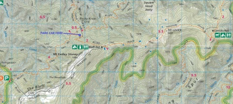 For trips in this area I recommend Spatial Vision's Buller-Howitt Alpine Area map. Click to zoom.